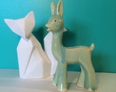 "Adorable Vintage Turquoise Deer Planter 7"" - Mini Fawn Vase"