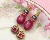 Raspberry Pink Earrings, Assemblage Earrings, Moonglow Bead Earrings, Gray Pearl Earrings, Rhinestone Earrings, Handmade By KreatedByKelly