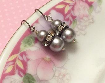Silver Pearl Earrings, Silver Rhinestone Earrings, Silver Pearl Drop Earrings, Short Dangle Earrings, Silver Earrings, KreatedByKelly