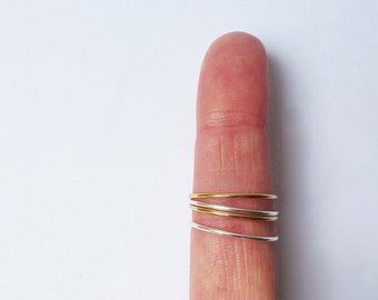 Stacks Ring Set- Gold fill and sterling silver skinny fine stacking rings (SET OF TWO)