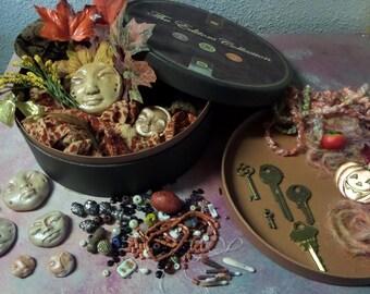 DIY kit, Art Dolls, Kitchen witch, Assemblage destash,found objects, clay faces, large round cigar box