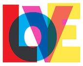 LOVE Art Print - Giclee Print Typography Art Typographic Poster Wall Decor