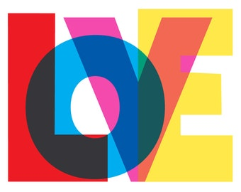 LOVE Art Print - Valentine Love Print Giclee Print Typography Art Typographic Poster Wall Decor
