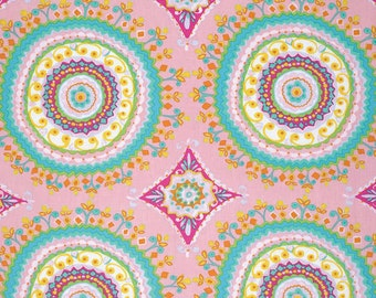 Dena Designs Haute Girls Large Circles in Pink - Free Spirit cotton quilt fabric - half yard, dena designs fabric, pink fabric,circle fabric