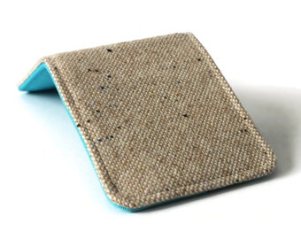 Mens Billfold Wallet / Super Thin Minimalist BiFold Wallet / Brown Tweed Wool / Non-Leather Wallet