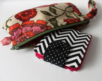OhSoRetro Womens BiFold Wallet / Thin Minimalist BillFold / Cotton Fabric / Chevron