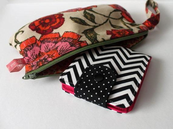 SALE OhSoRetro Womens BiFold Wallet / Thin Minimalist BillFold / Cotton Fabric / Chevron