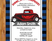 Adult Surprise Classic Car Birthday Party Invite Red Car Masculine Man Navy Grey Stripes Invitation Stripes 50th 60th Birthday (454)