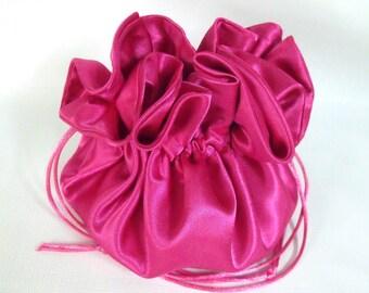 Dollar Dance Bag, Wedding Bag,  Satin Bridal Money Purse Fuchsia  No Pockets