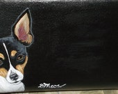 Toy Fox Terrier Dog Custom Painted Leather Checkbook Cover