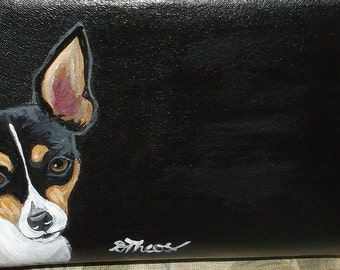 Toy Fox Terrier Dog Custom Hand Painted Leather Checkbook Cover Checkbook Holder