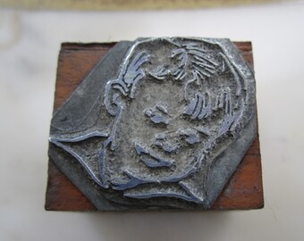 Vintage Letterpress Printers Block Young Boy