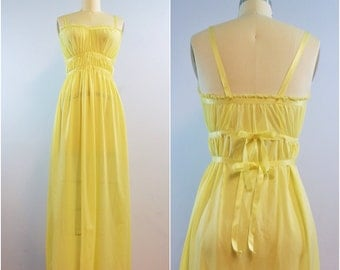 Gardenia Yellow Empire Night Gown | 1950s Vintage Extacee Lingerie | Size XS