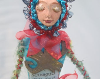 SCORPIO, ZODIAC Art Doll, OOAK, Zodiac Doll, Horoscope Doll, Scorpio Star Sign, Zodiac Creation, Michelle Munzone, Astrology Doll, Figurine