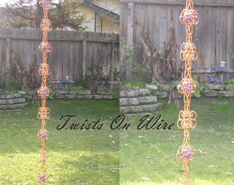 8 Ft Solid Copper  Rain Chain Sun Catcher - Kusari Doi - Feng Shui Zen Outdoor Garden Decor Water Feature Handcrafted Metalwork Suncatcher