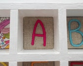 Hand Embroidered Alphabet Nursery Wall Art Display