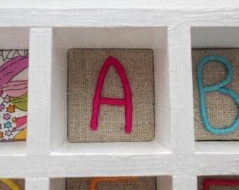 Hand Embroidered Alphabet Nursery Wall Art Display