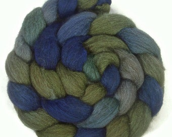 Handpainted Dark BFL Wool Roving - 4 oz. SEAGLASS - Spinning Fiber