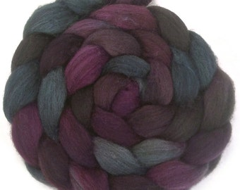 Handpainted Dark BFL Wool Roving - 4 oz. TWILIGHT - Spinning Fiber