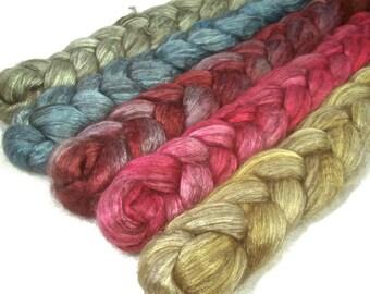 Handpainted Yak Silk Roving Bundle - 5 oz. ARCADE - Spinning Fiber