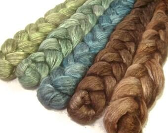 Handpainted Yak/Silk Roving Bundle - 5 oz. MALLARD - Spinning Fiber
