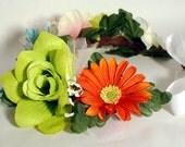 Romantic Flower Crown Orange Turquoise Pink Rainbow Festival Headband Mexican Wedding Frida Kahlo Headpiece