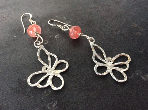 Hammered Butterfly Earrings in sterling silver with pink quartz
