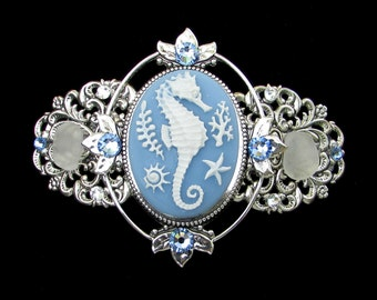 Seahorse Cameo Barrette with Sparkling Austrian Crystals Blue and White