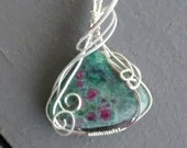 Oh Hold for Rose Ruby in Fuchsite Sterling Wire Wrapped Pendant OOAK