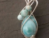 On Hold for Rose Larimar Pendant Sterling Wire Wrapped Artisan OOAK