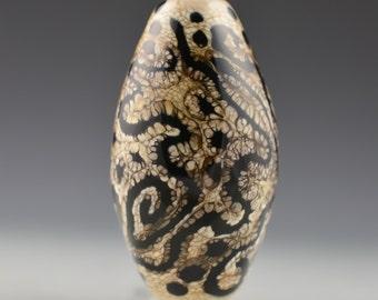 Cobra - Black and Ivory Organic Focal Bead