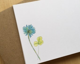 Watercolor Flat Note Stationery Set - Personalized or Blank Blue Clover Stationery - Weed Note Cards - Wildflower Stationery - Set of 8