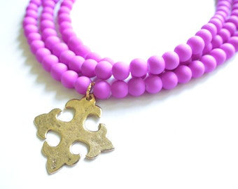 The Cadence- Radiant Orchid Long Multi Strand Cross Necklace