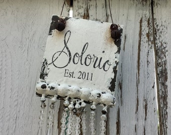 CUSTOM NAME ORNAMENT, Personalized Ornament, Wooden Ornament, Crystal Beads, Vintage Inspired, Unique Ornament, Shabby Chic Christmas Decor