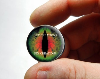 Glass Eyes - Green Red Dragon Eye Eyeball Flat Cabochons - Pair or Single - You Choose Size