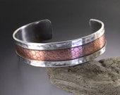 Cuff Bracelet Sterling Silver Handmade Frame with Textured Copper Snakeskin Center Design