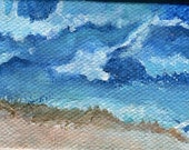 Seascape, Waves at the Beach Mini Painting on canvas Original Ocean Art. Easel,  miniature painting, acrylic painting