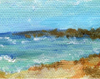 Aruba Seascape, Beach Mini Painting on canvas Original Ocean Art 2 x 4 little Aruba beach painting, Malmok Beach, acrylic painting small art