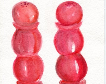 Shakers watercolor painting Salt & Pepper Vintage Red Wooden, Original ART 5 x 7 Culinary, kitchen art, original painting, Cottage decor