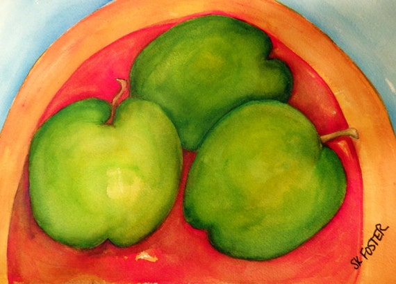 Granny Smith Apples watercolor painting original, Orange Plate, apples painting, watercolor painting of apples