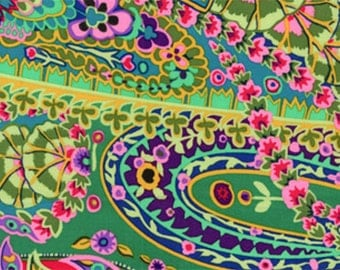 Paisley Jungle in Green by Kaffe Fassett GP60 Westminster Fabric / 1/2 yard Cotton, Quilt Craft and Apparrell fabric
