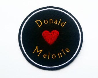 Customize Iron On Patch Name Heart Name - wedding gift - anniversary - bride and groom - mom and dad - mother's day - father's day