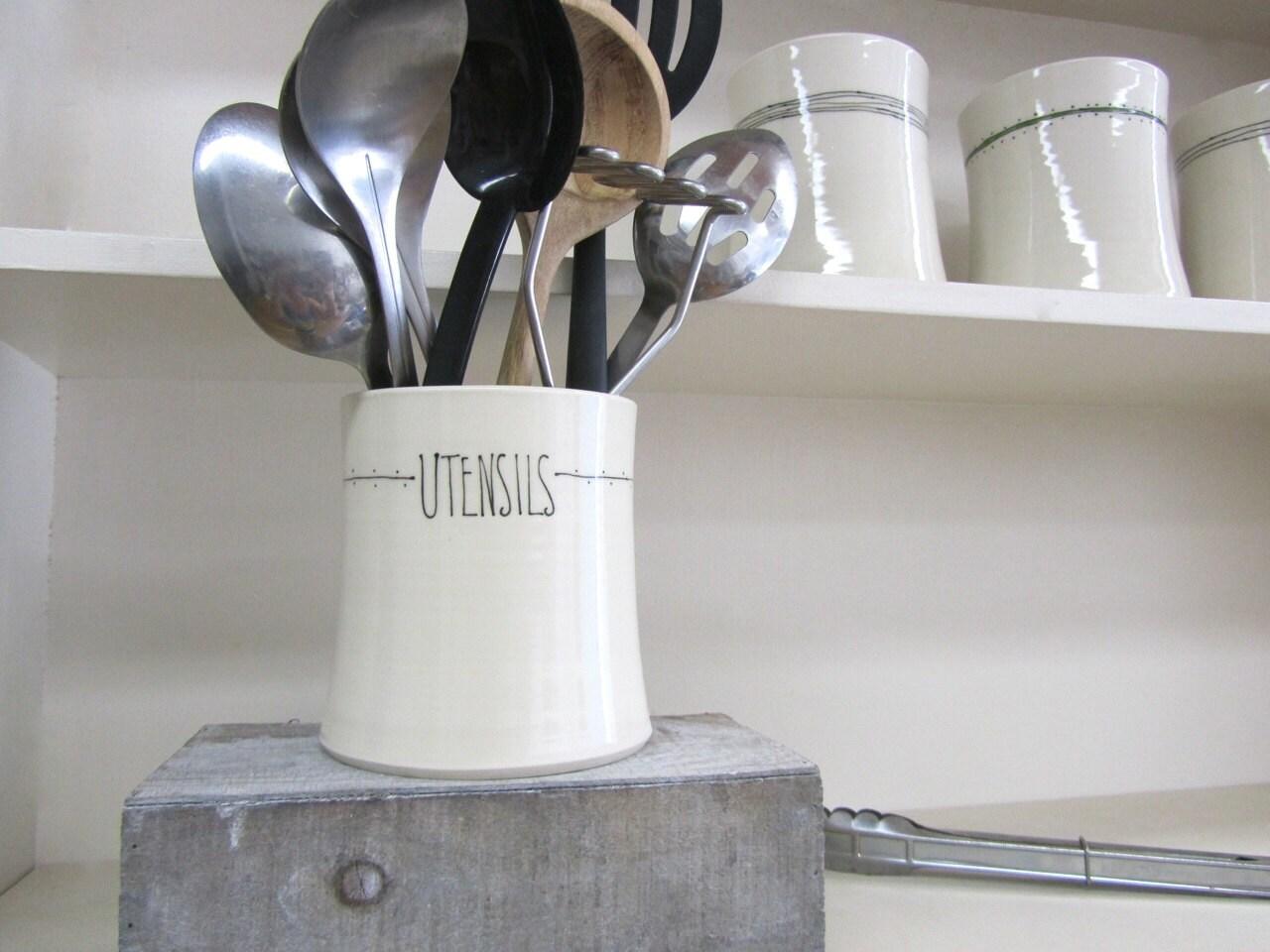 Stripe dot kitchen utensil holder for Kitchen utensil holder