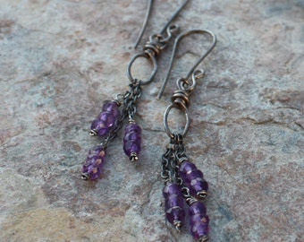 Amethyst earrings, dangle earrings, sterling silver, purple gemstone earrings, handmade artisan