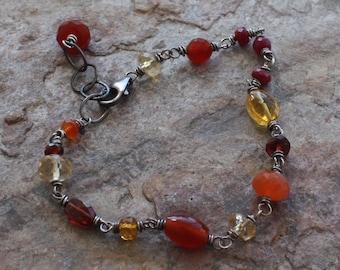 Red, Yellow, Orange MULTI GEMSTONE bracelet Citrine, Carnelian, Orange Garnet, Ruby, Red Garnet, Yellow Tourmaline,