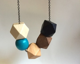 Faceted Geometric Necklace - 5 Wooden Beads on Gunmetal