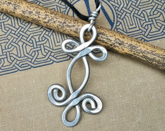 Celtic Swirl Shamrock Whirl Big Pendant, Aluminum Celtic Necklace, Large Celtic Jewelry, Light Weight Aluminum Jewelry, Women, Celtic Knot