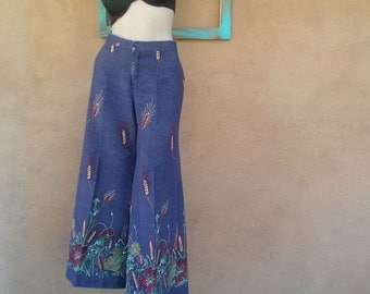 Vintage 1970s Pants Bell Bottom Hip Hugger US12 W30