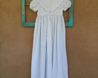 Vintage 1960s Girls White Dress Cotton Long Party Dress Flower Childs US 8 2015218