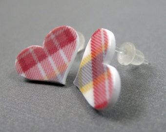 Preppy Plaid Heart Earrings - Plastic Posts - Shrink Plastic Earrings